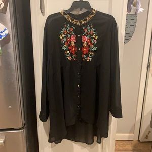 Shein embroidered high/low blouse
